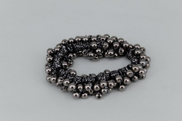 Equi-Jewel Pearl Effect Beaded Scrunchie - Graphite
