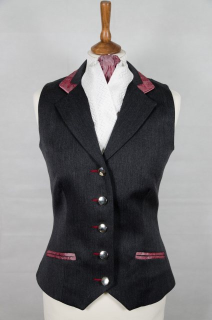 Equi-Jewel by Emily Galtry Equi-Jewel Competition Waistcoat - Grey 100% Wool Barathea with Burgundy Paisley (53) Trim and Dusky Pink (20) Piping