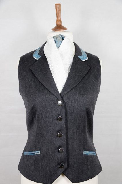 Equi-Jewel Equi-Jewel Competition Waistcoat - Grey 100% Wool Barathea with Turquoise Paisley (55) Trim and White (32) Piping
