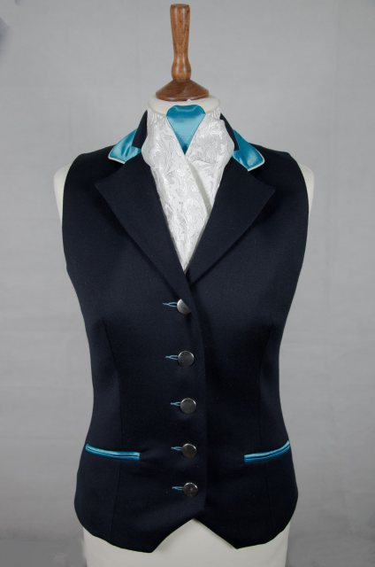 Equi-Jewel Equi-Jewel Competition Waistcoat - Navy 100% Wool Barathea with Aqua (05) Trim and White (32) Piping