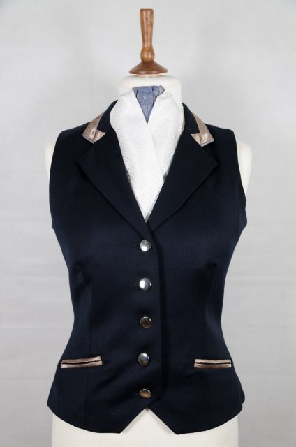 Equi-Jewel Equi-Jewel Competition Waistcoat - Navy 100% Wool Barathea with Mink (26) Trim and Royal Blue Paisley (56) Piping