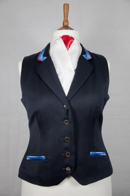 Equi-Jewel Equi-Jewel Competition Waistcoat - Navy 100% Wool Barathea with Royal Blue (02) Trim and Red (17) Piping