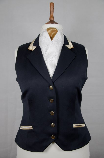 Equi-Jewel Equi-Jewel Competition Waistcoat - Navy 100% Wool Barathea with Gold (25) Trim and Dark Gold (30) Piping