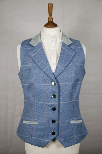 Equi-Jewel Equi-Jewel Tweed Waistcoat - CGE192 Tweed with Faux Suede Blue (4) Full Collar and Trim