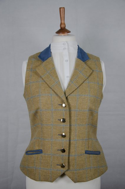 Equi-Jewel Equi-Jewel Tweed Waistcoat - CGE275 Tweed with Faux Suede Denim (3) Full Collar and Trim