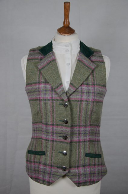 Equi-Jewel by Emily Galtry Equi-Jewel Tweed Waistcoat - CGE210 Tweed with Faux Suede Bottle Green (16) Full Collar and Trim