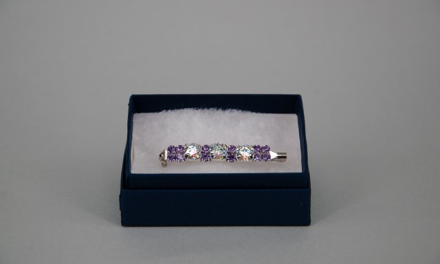 Equi-Jewel Stock Pin - 6mm White Patina Swarovski Crystals with 3mm Lilac Jewels