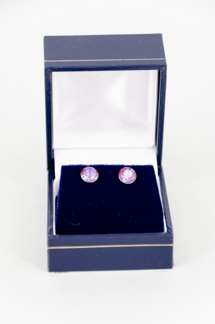 Equi-Jewel Earrings - Xirius Swarovski Crystal Round Stud - Burgundy DeLite